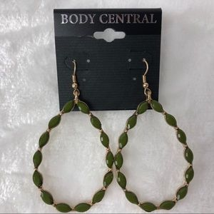 Olive Green and Gold Earrings NEW